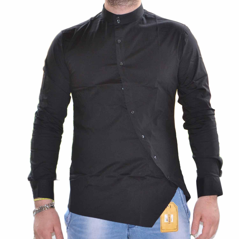 premium selection bd8d5 b76ee camicia uomo slim coreana curva nero 100% cotone made in italy collo aperto  uomo camicie made in italy | MaluShoes
