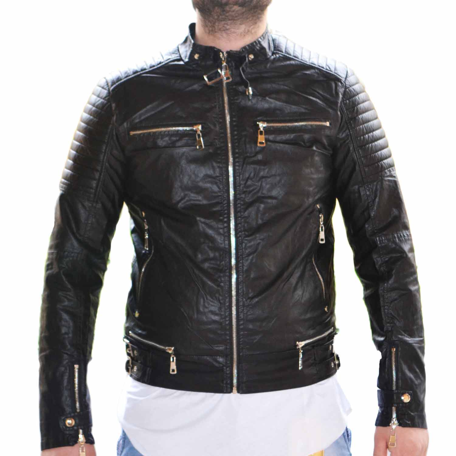 huge selection of 15118 76d72 Giubbotto Giubbino Giacca Bomber Chiodo Uomo Slim Fit fibbie accessori nero  made in italy uomo giubbini in pelle made in italy | MaluShoes