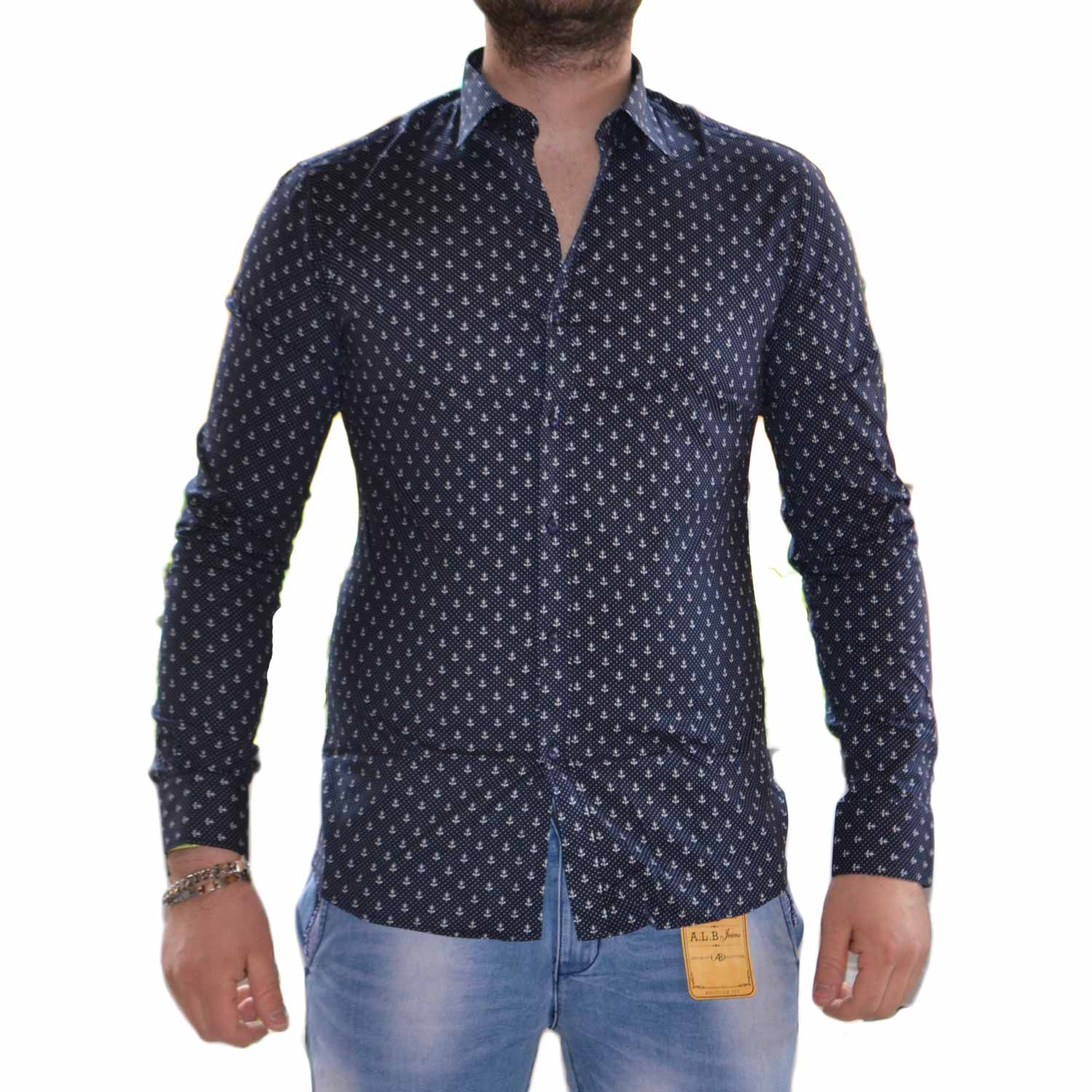 more photos 9c3e6 1ac32 Camicia Ancora Uomo Manica Lunga Cotone Pois Casual Regular uomo camicie  made in italy | MaluShoes