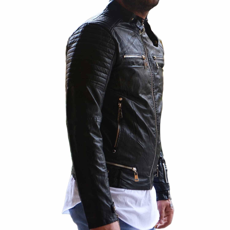 huge selection of 18c57 e985d Giubbotto Giubbino Giacca Bomber Chiodo Uomo Slim Fit fibbie accessori nero  made in italy uomo giubbini in pelle made in italy | MaluShoes