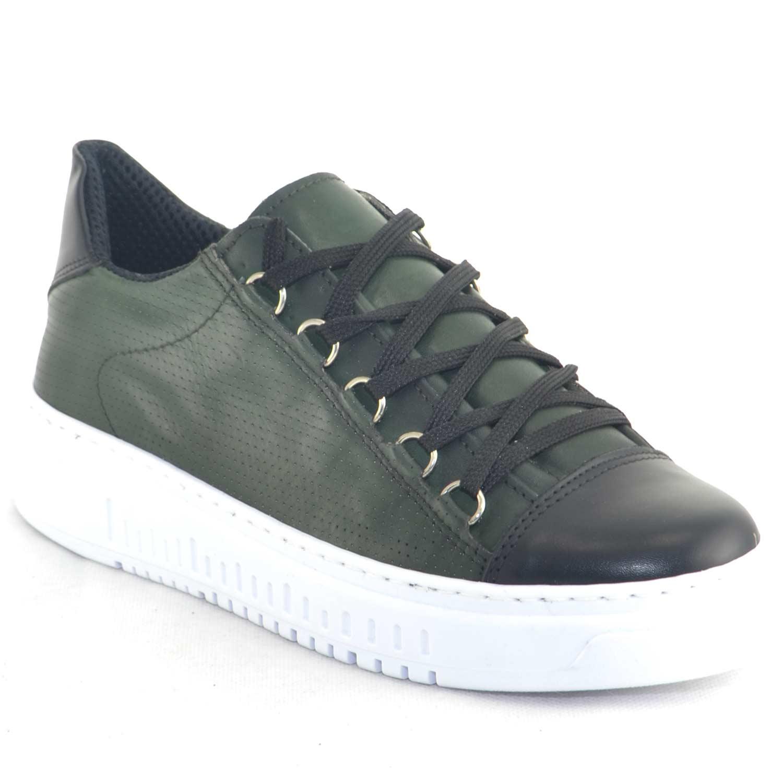 Sneakers bassa uomo verde fondo doppio army vera pelle nappa riporto strisce di pelle made in italy moda giovanile uomo sneakers bassa Malu Shoes |