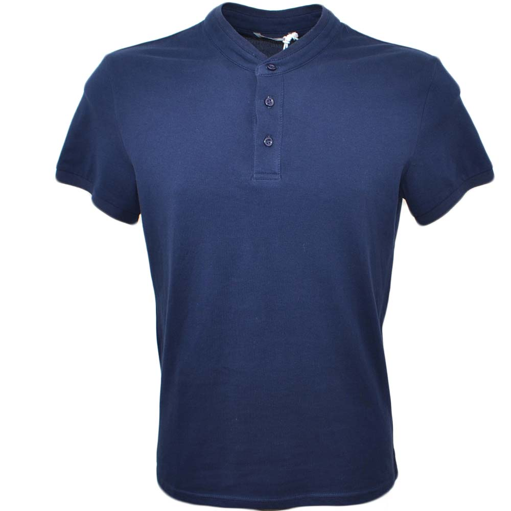 POLO basic uomo in cotone elastico blu notte slim fit girocollo con cucitura in tinta manica corta made in italy.
