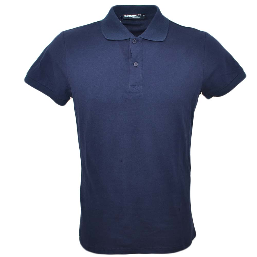 Polo basic uomo in cotone elastico blu semplice slim fit  con cucitura in tinta made in italy .