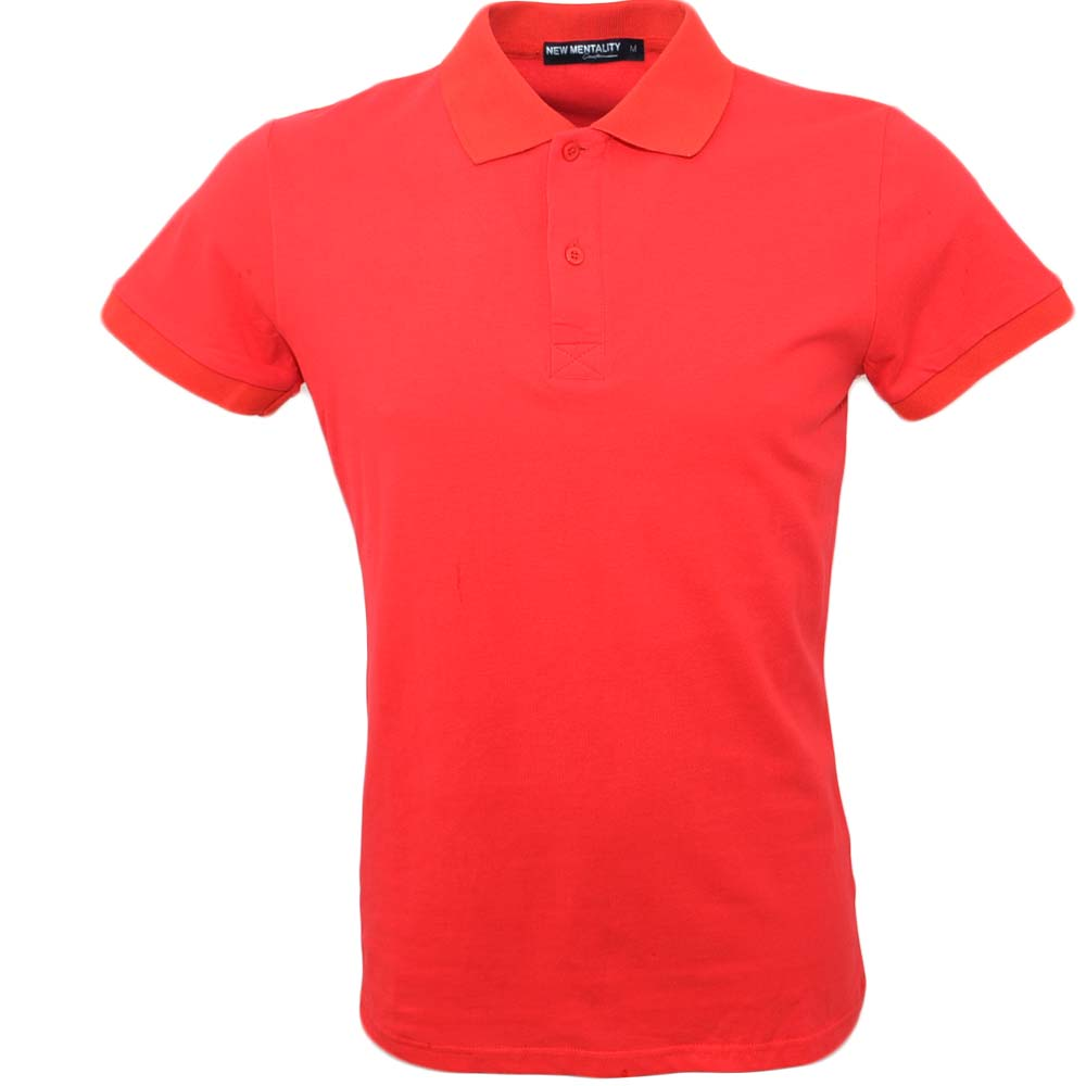 POLO basic uomo in cotone elastico rosso slim fit collo rigido con cucitura in tinta manica corta made in italy.