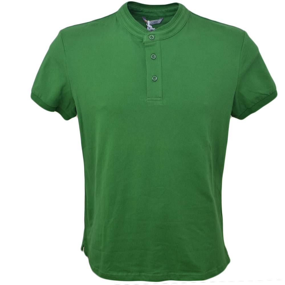 POLO basic uomo in cotone elastico verde slim fit girocollo con cucitura in tinta manica corta made in italy.