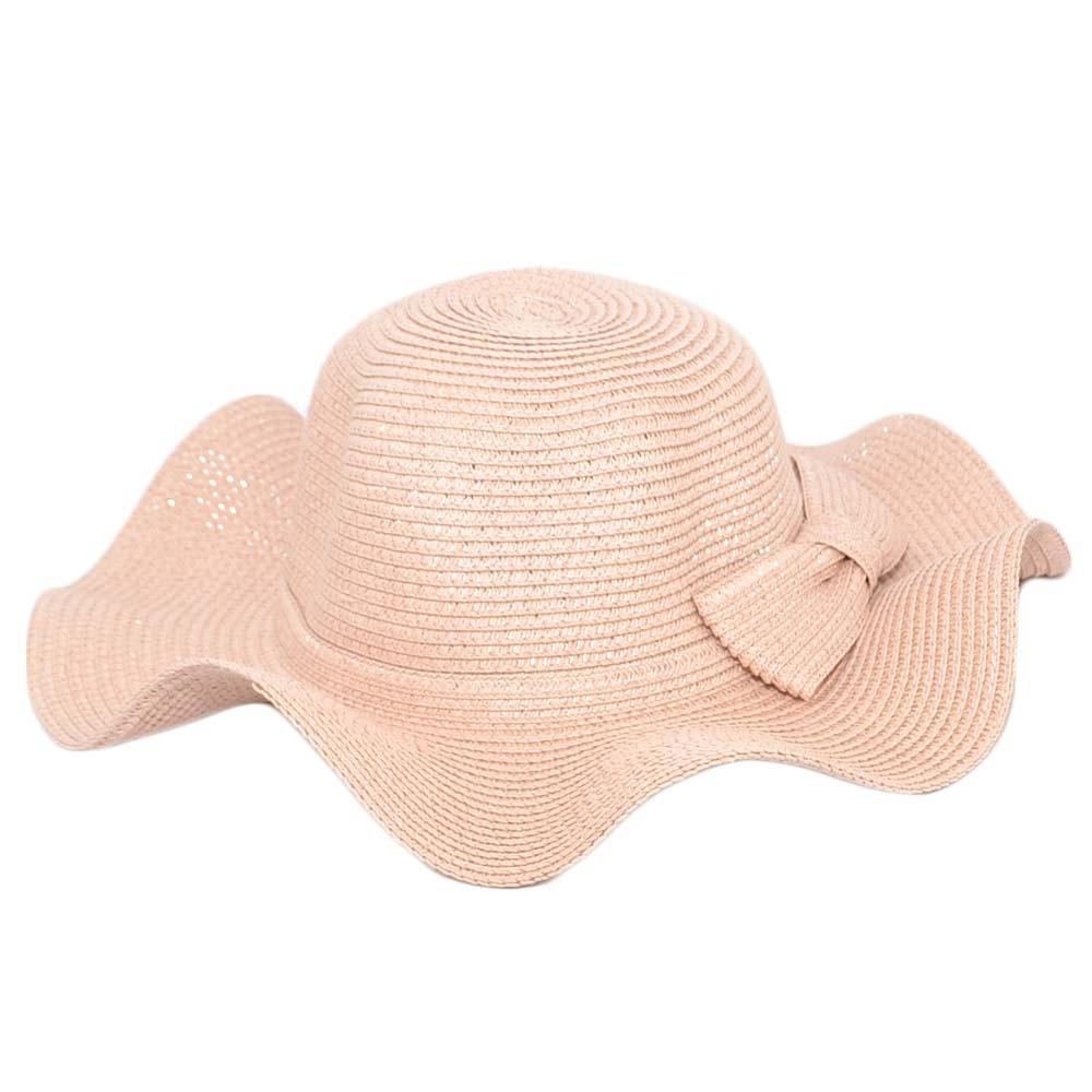 Cappello parasole di paglia ondulato cipria rosa donna ...