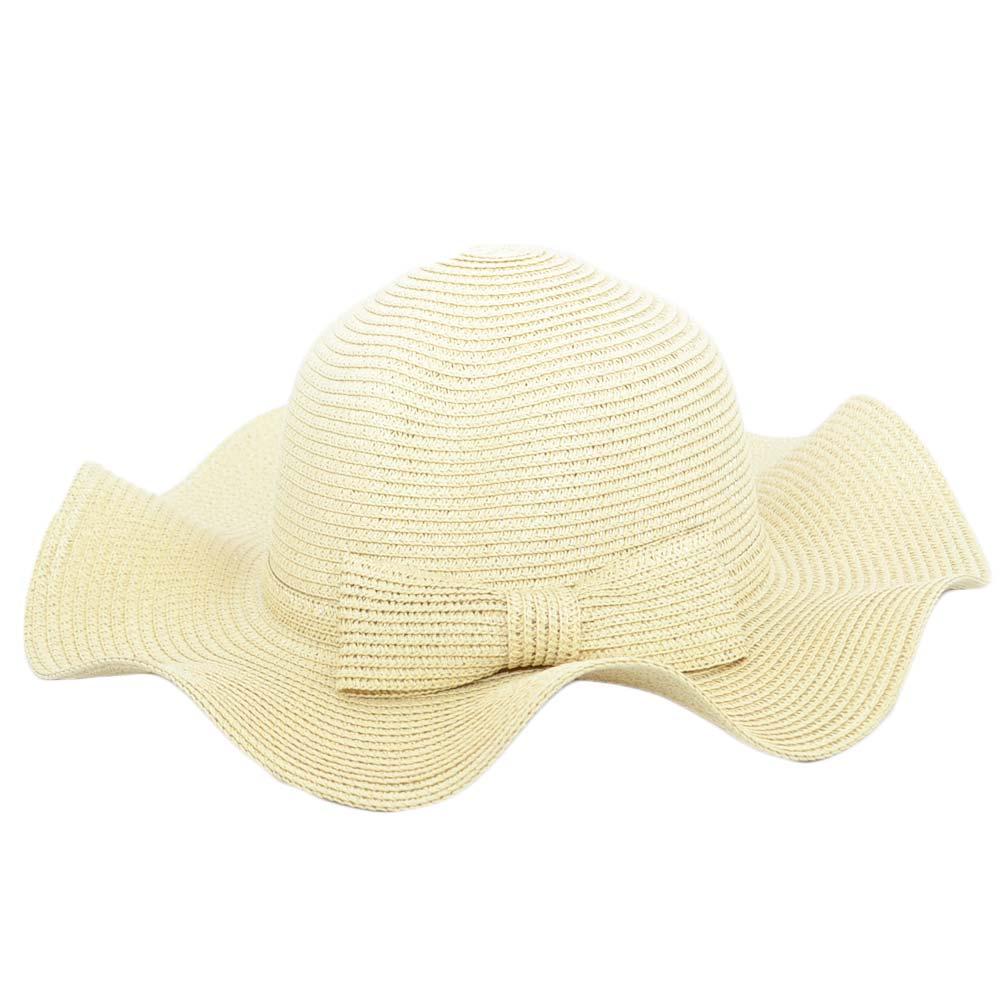 Cappello parasole di paglia ondulato natural donna ...