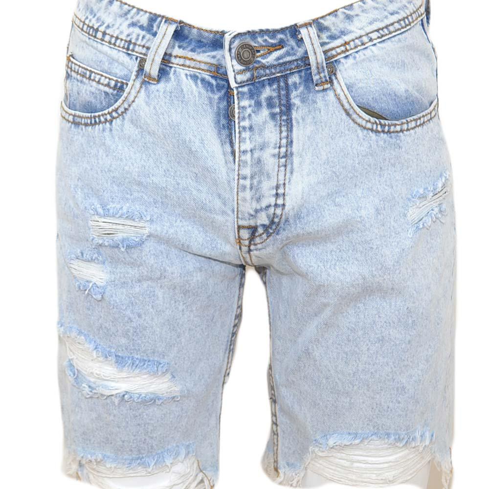 c268a1c505 Pantoloni corti short uomo bermuda in denim jeans blu chiaro con strappi  frontali moda giovane uomo shorts Malu Shoes | MaluShoes
