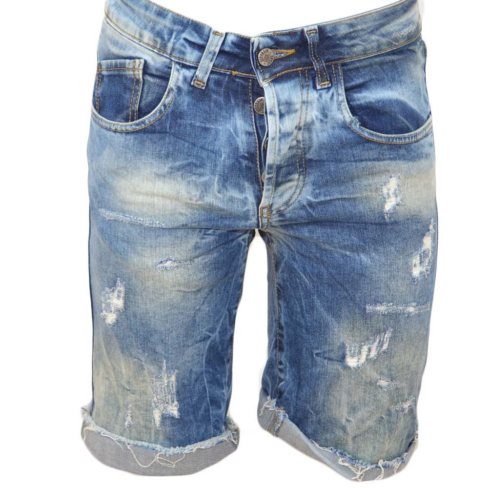 775f1300f5 Pantoloni corti short uomo bermuda in denim jeans nero con strappi e ...