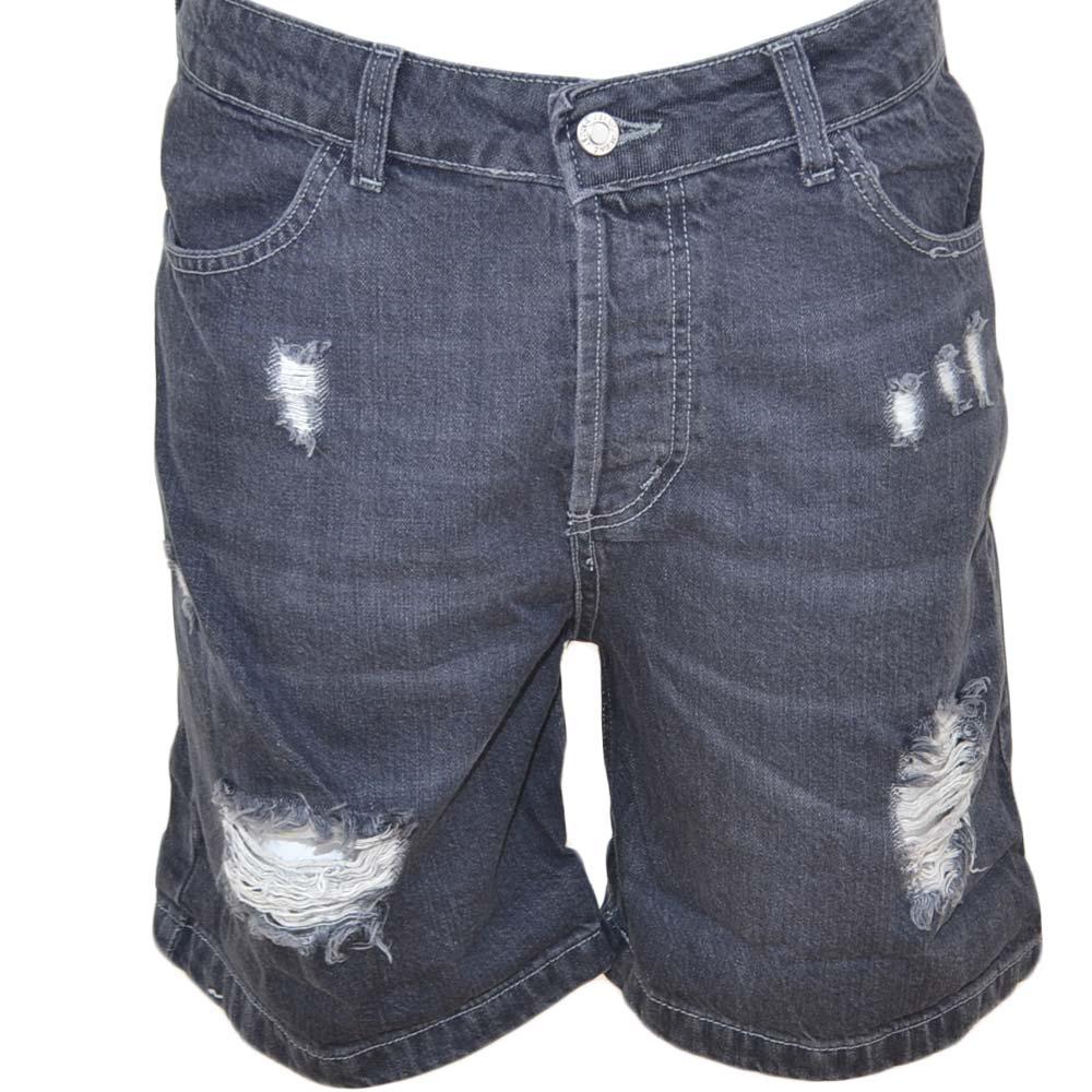 e2ce373e6e Pantoloni corti short uomo bermuda in denim jeans grigio scuro con strappi  frontali moda giovane uomo shorts Malu Shoes | MaluShoes
