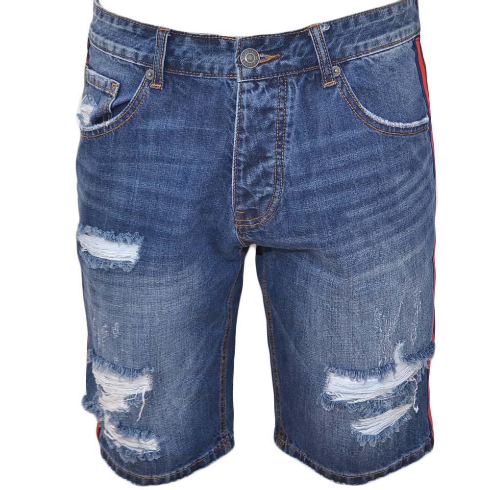 6886333fe6 Pantoloni corti short uomo bermuda in denim jeans blu con strappi frontali  e bordino con nastro laterale nero e rosso uomo shorts Malu Shoes | ...