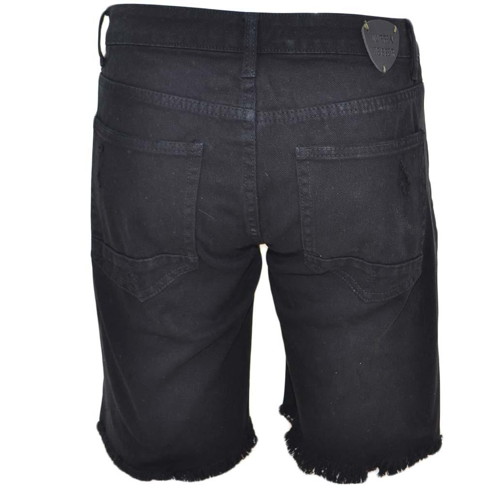 3fbf11f2ae Pantoloni corti short uomo bermuda in denim jeans nero con strappi e stemmi  frontali moda giovane uomo shorts Malu Shoes | MaluShoes