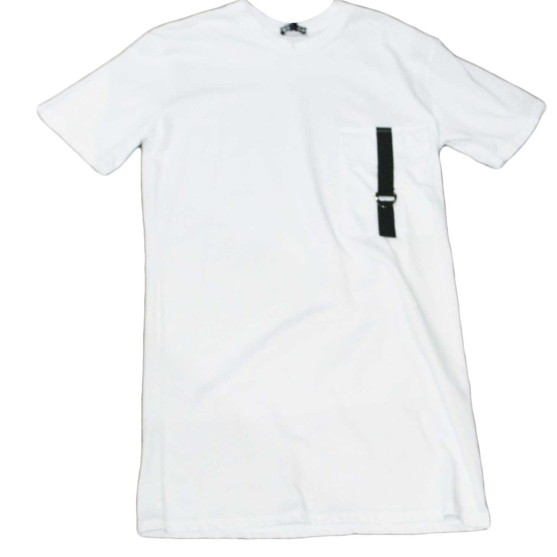 new product c5ff2 e9eda T-shirt maglietta art 00932 made in italy con collo rotondo e maniche corte  con design nero taschino con accessorio cucito artigianalmente made in ...
