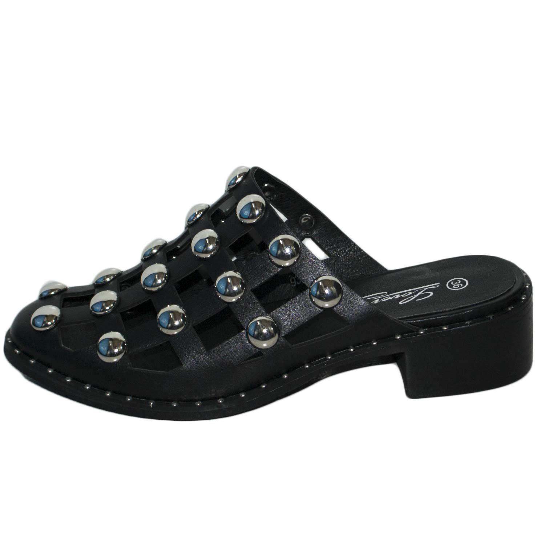 SABOT BORCHIE BASSI MODELLO CLIP RAGNO COCCINELLE NERO donna sandali bassi ragnetto Malu Shoes | MaluShoes