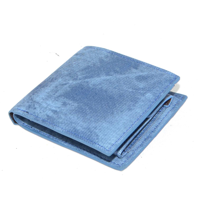 02600a9501 Portafoglio da uomo effetto tessuto jeans blu porta documenti carte ...
