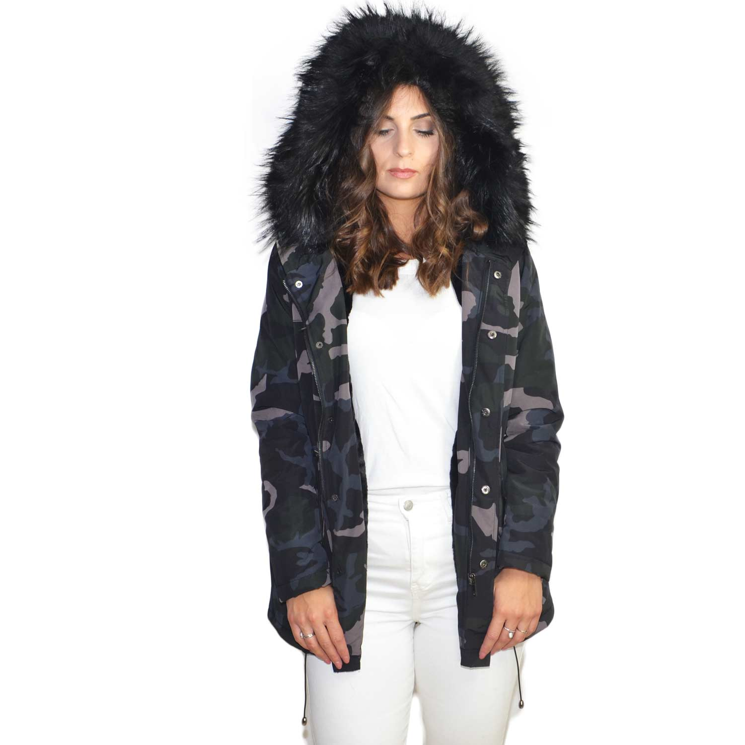 the latest 12c3d 70d98 Parka giacca donna invernale impermeabile camouflage con pelliccia nera  ecologica voluminosa marchio k-zell donna parka k-zell | MaluShoes