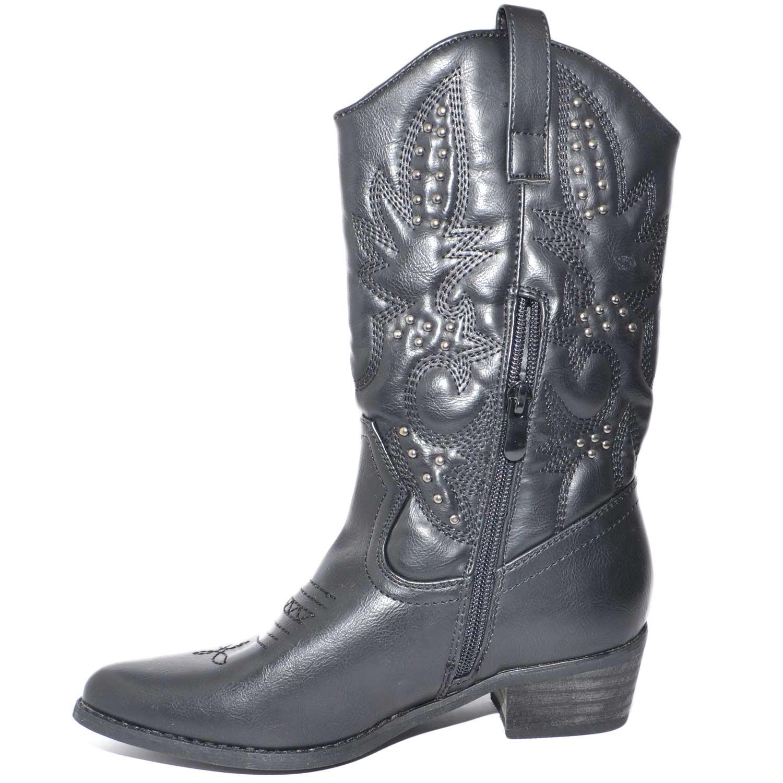 estetica di lusso Prezzo del 50% sconto più votato Stivali camperos neri altezza mezzo gambale con decorazioni e borchie  astratte stile vintage donna stivali Malu Shoes | MaluShoes