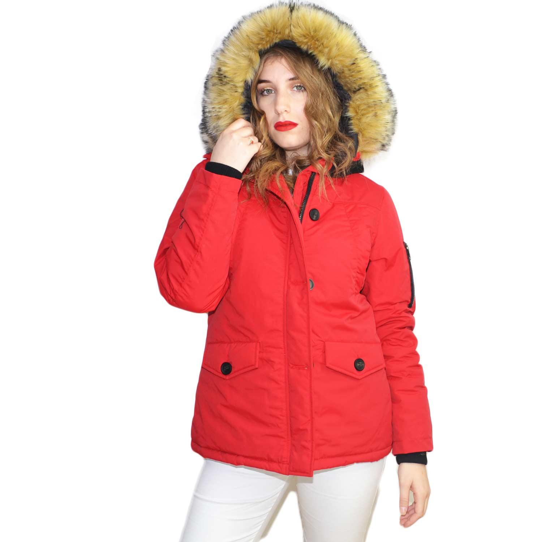 new product 4faa2 76668 Parka giacca donna invernale impermeabile rosso bottoni e zip reverse  pelliccia miele ecologica voluminosa k-zell donna parka k-zell   MaluShoes