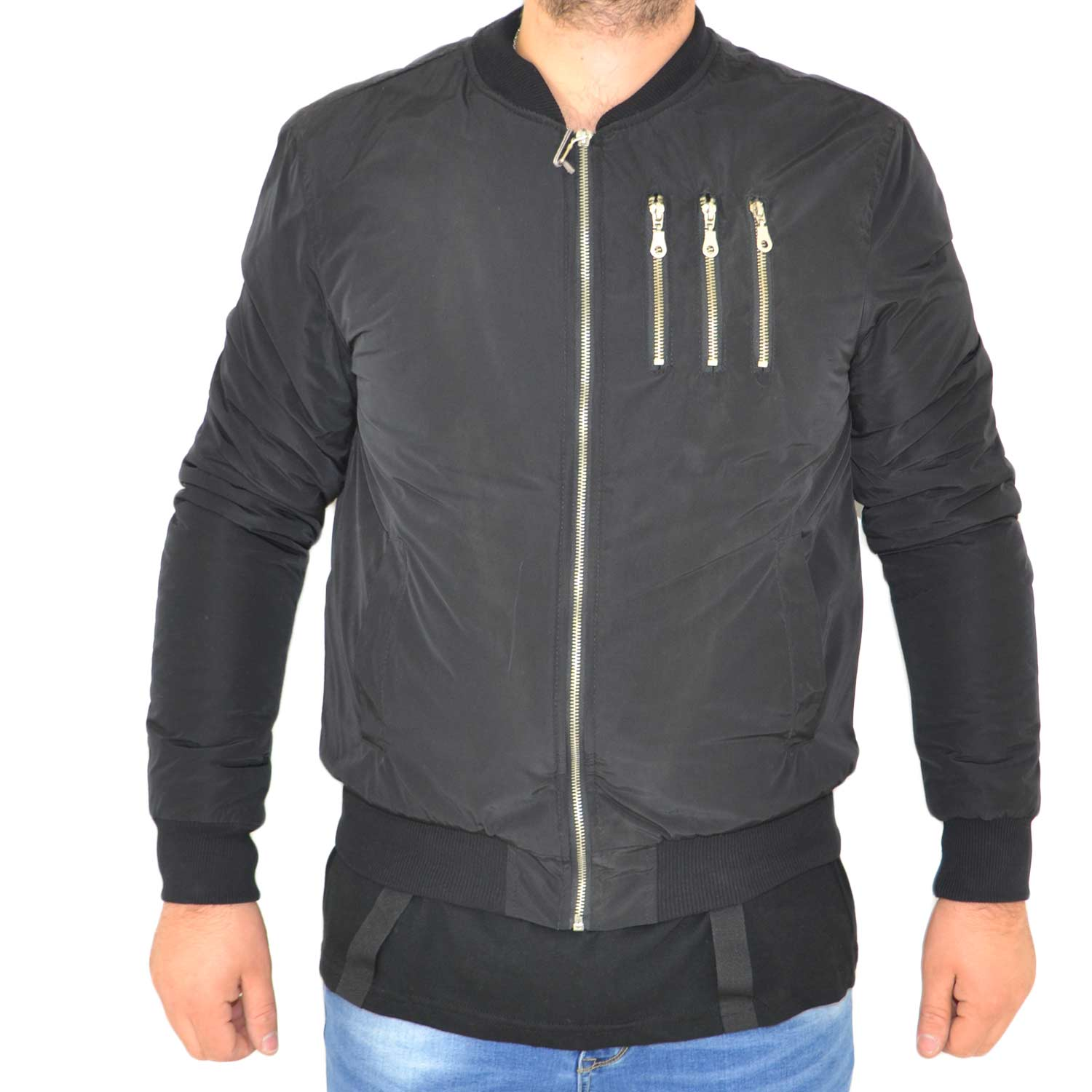 Giubbotto art B093 Acy 3 Lampo nero impermeabile made in italy zip moda .