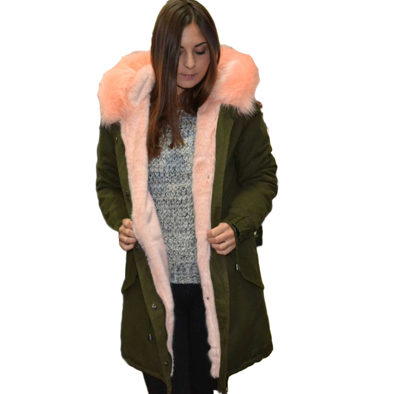 size 40 4e30b b957b New Parka con pelliccia colorata voluminosa cipria glamour donna parka  osley | MaluShoes