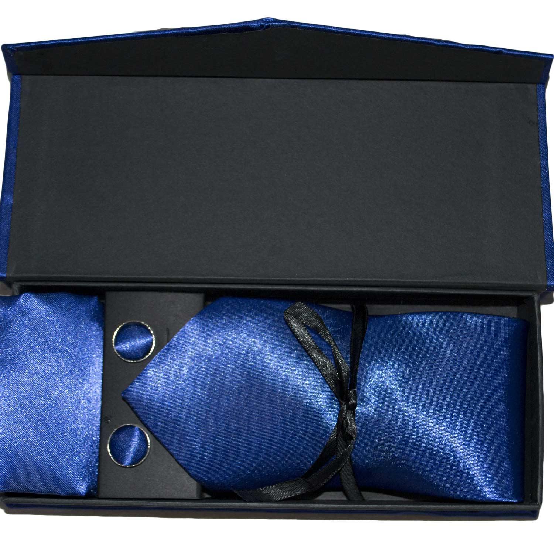 Blu Set Cobalto Con Gemelli Coordinato E Uomo Cravatte Pochette Ifyvmb7Y6g