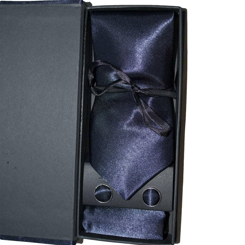Set coordinato uomo cravatte con gemelli e pochette blu elegante cerimonia 93b44477ef3