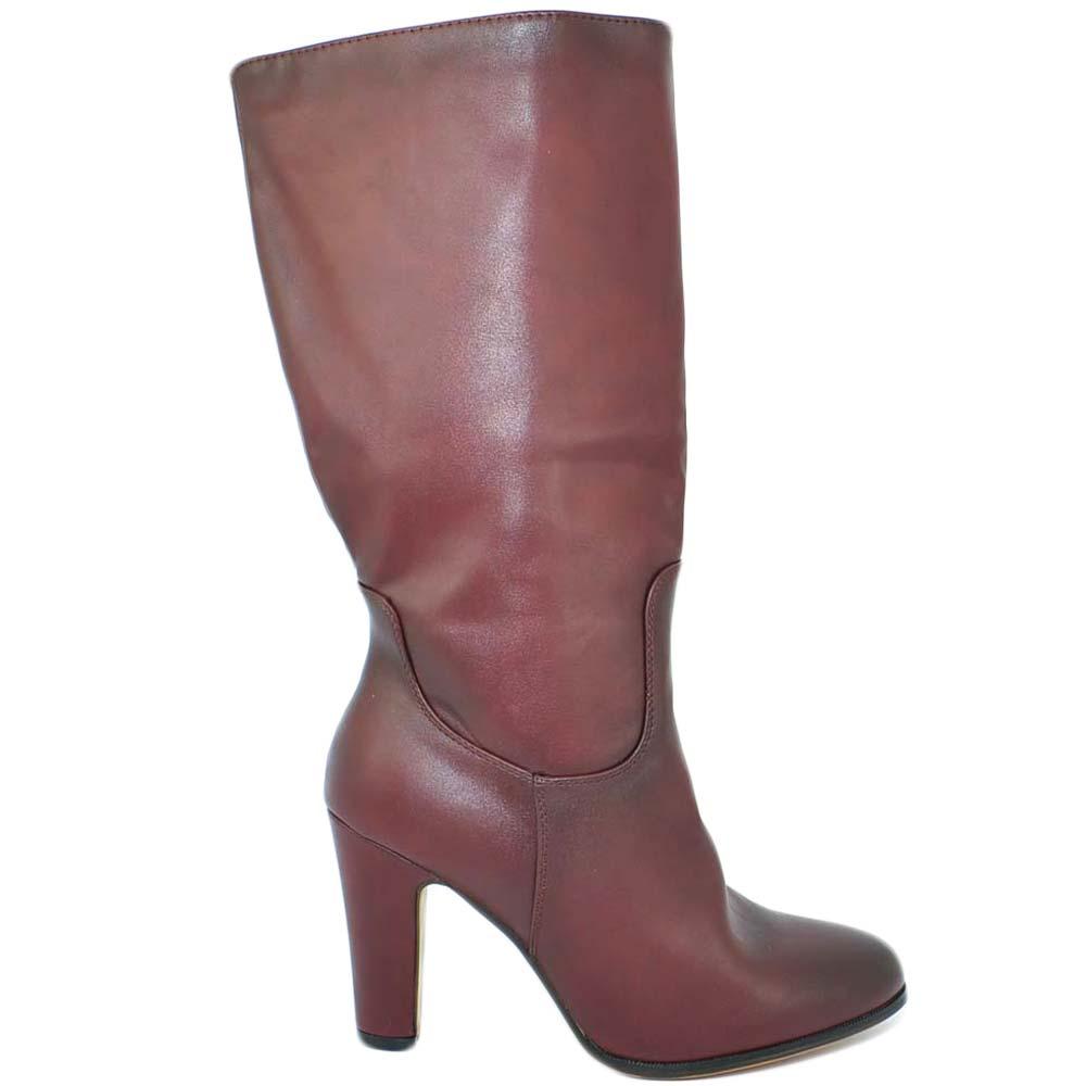Stivale donna sotto ginocchio aderente in pelle liscia spazzolata bordeaux e zip punta tonda tacco largo 8 cm donna stivali Malu Shoes | MaluShoes