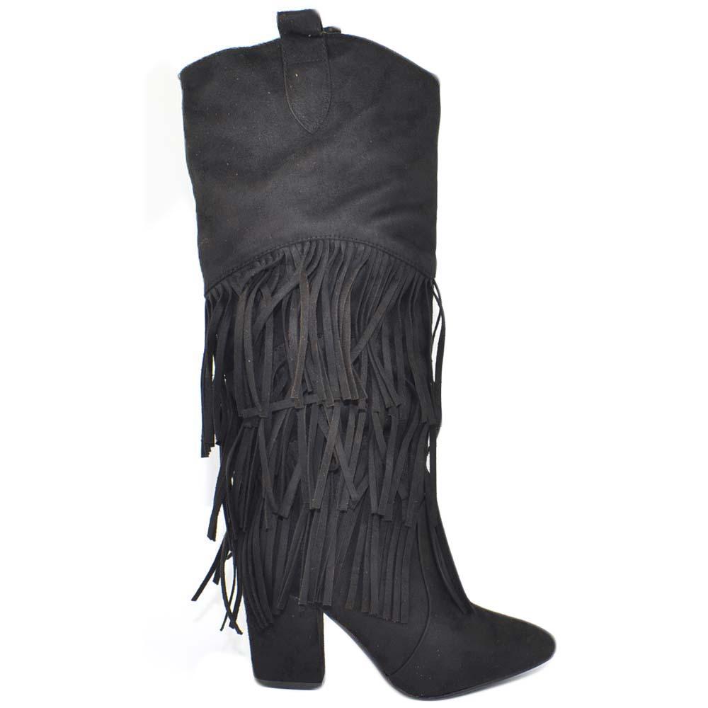 STIVALI IN SEMILPELLE con frangiette in camoscio donna nero