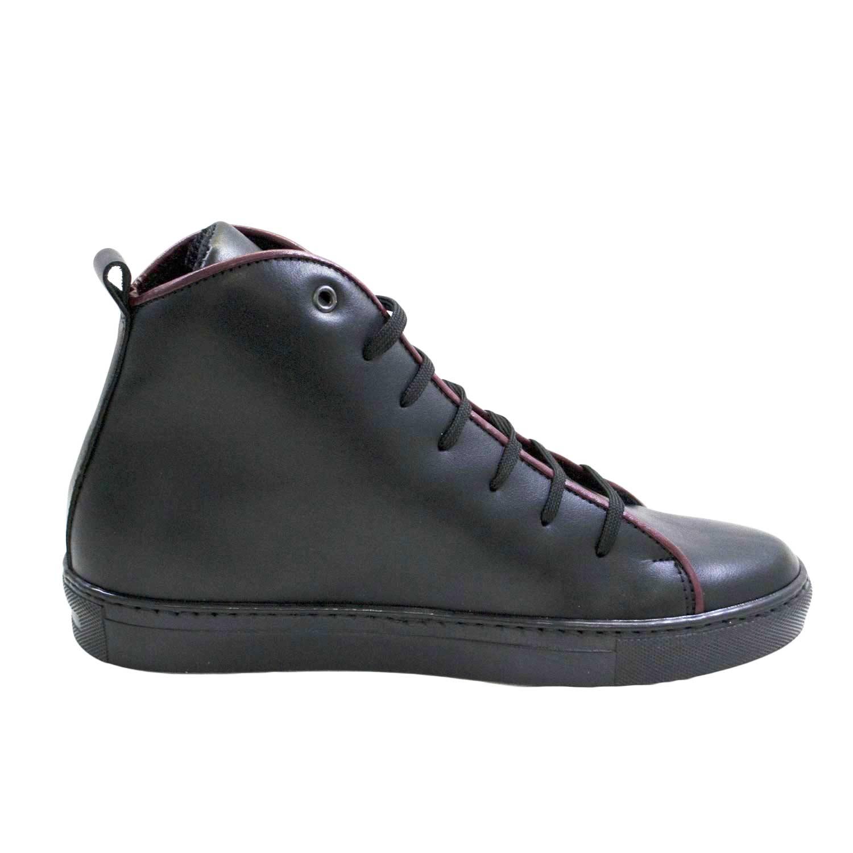scarpe uomo nero con bordino bordeaux stivaletto basico vitello nero cd8f2997d58