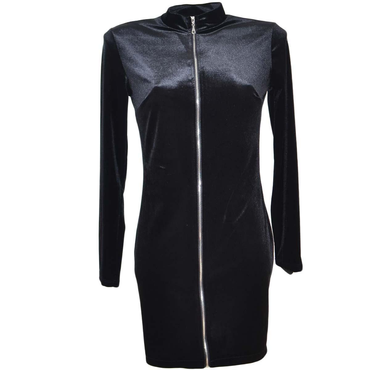 huge selection of a5828 62280 Abito donna aderente corto in ciniglia nero slim fit con zip frontale linea  basic moda trendy donna abiti Made in italy | MaluShoes