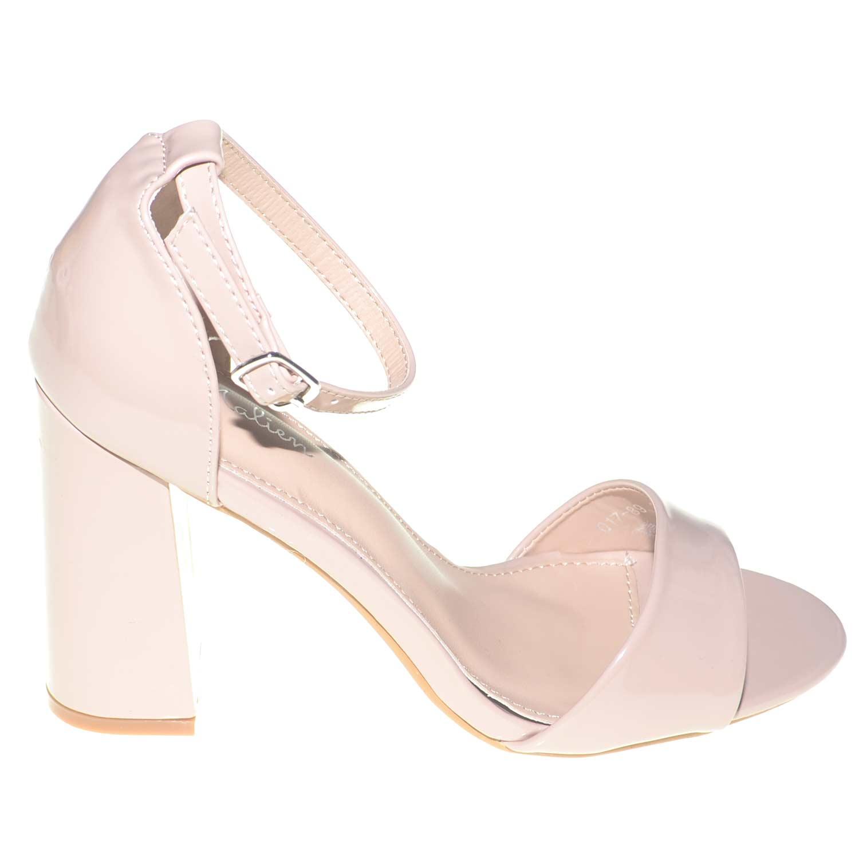 sandalo tacco comfort aperto in vernice rosa lucida con tacco largo e cinturino