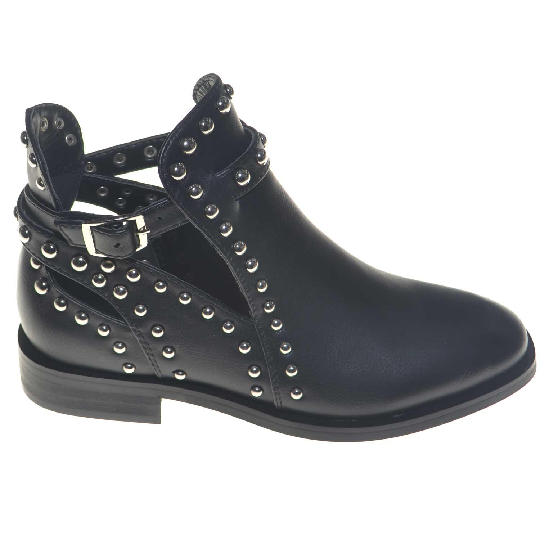 selezione migliore b6185 12b9d stivaletto estivo donna nero scollatura alla caviglia fibbia e cerniera con  applicazioni di borchie estate 2018 glamour donna stivaletti Malu Shoes |  ...