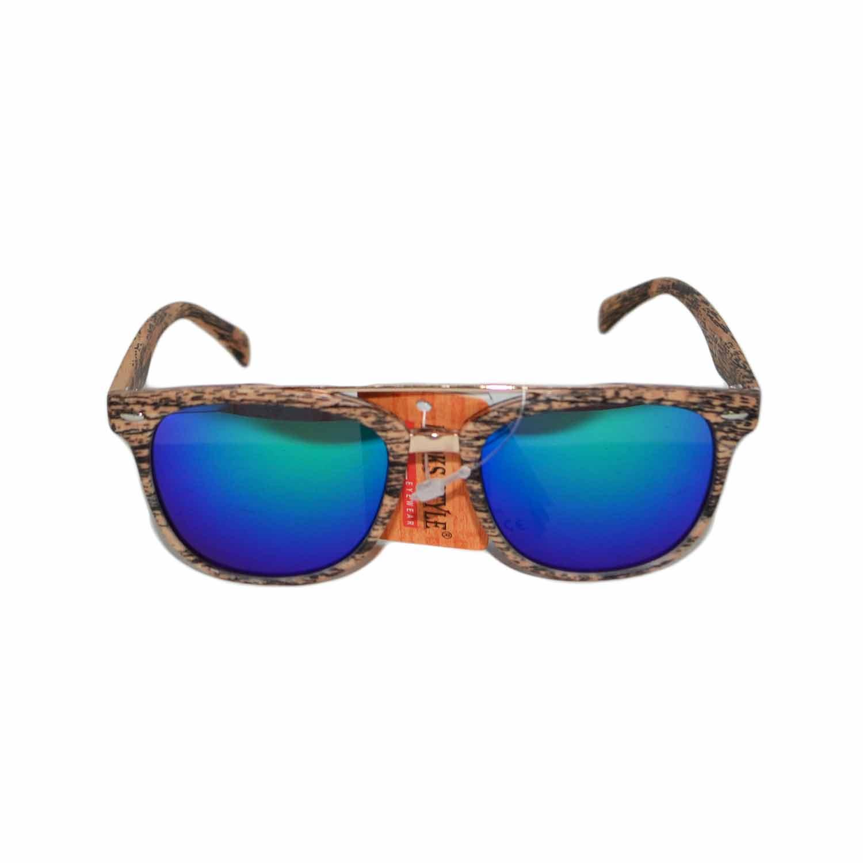 Occhiali da sole lenti sfumate effetto legno specchio blu - Occhiali specchio blu ...