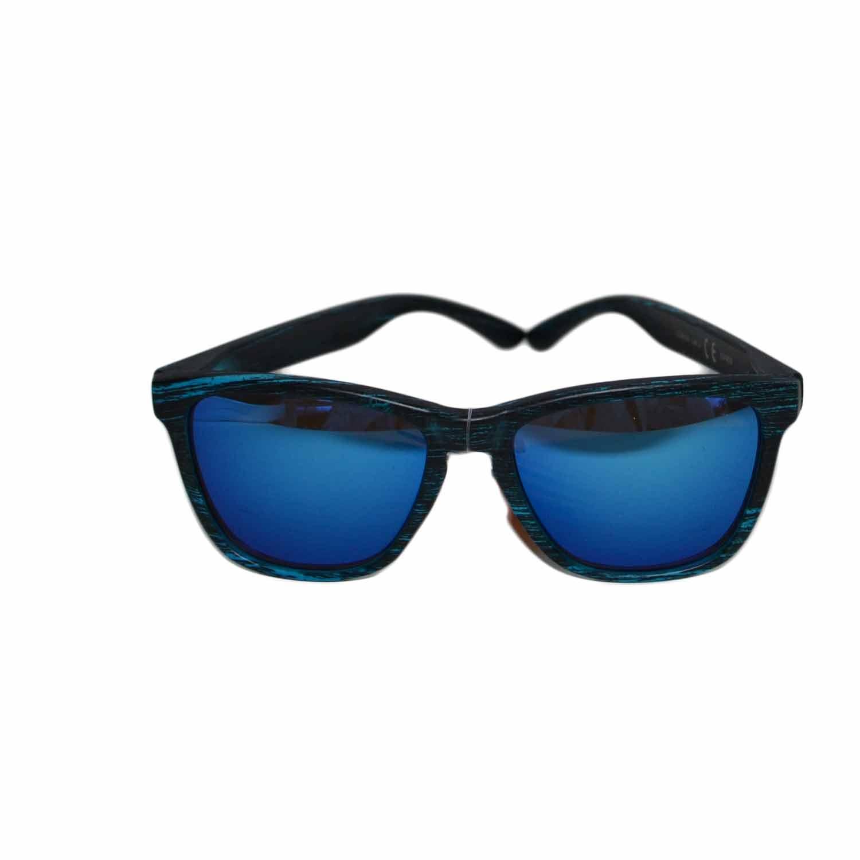 Occhiali da sole uomo donna moda vintage effetto legno blu for Pubblicita occhiali da sole