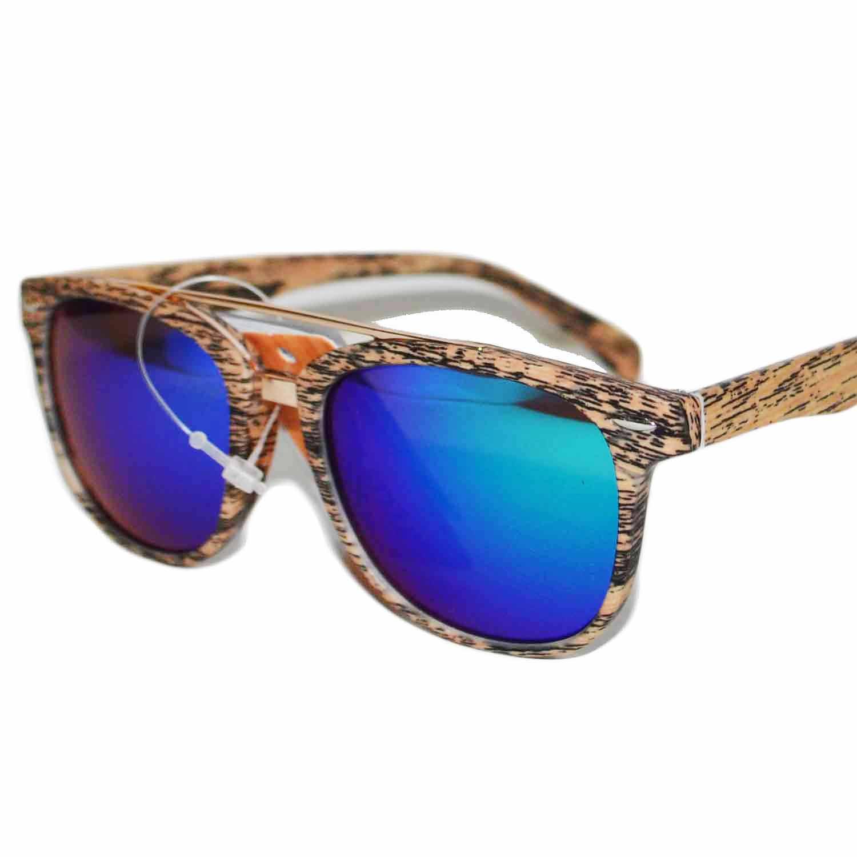 Occhiali da sole lenti sfumate effetto legno specchio blu for Occhiali da sole montatura in legno
