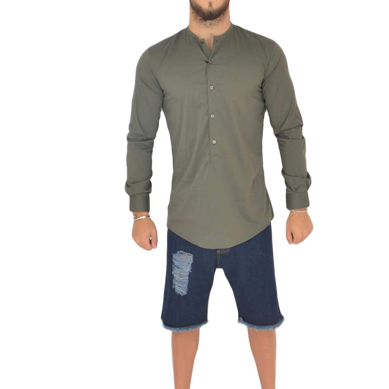 cheaper 6aee7 33c54 Camicia uomo cotone verde militare collo coreano manica lunga motivo basic  uomo camicie Malu Shoes | MaluShoes