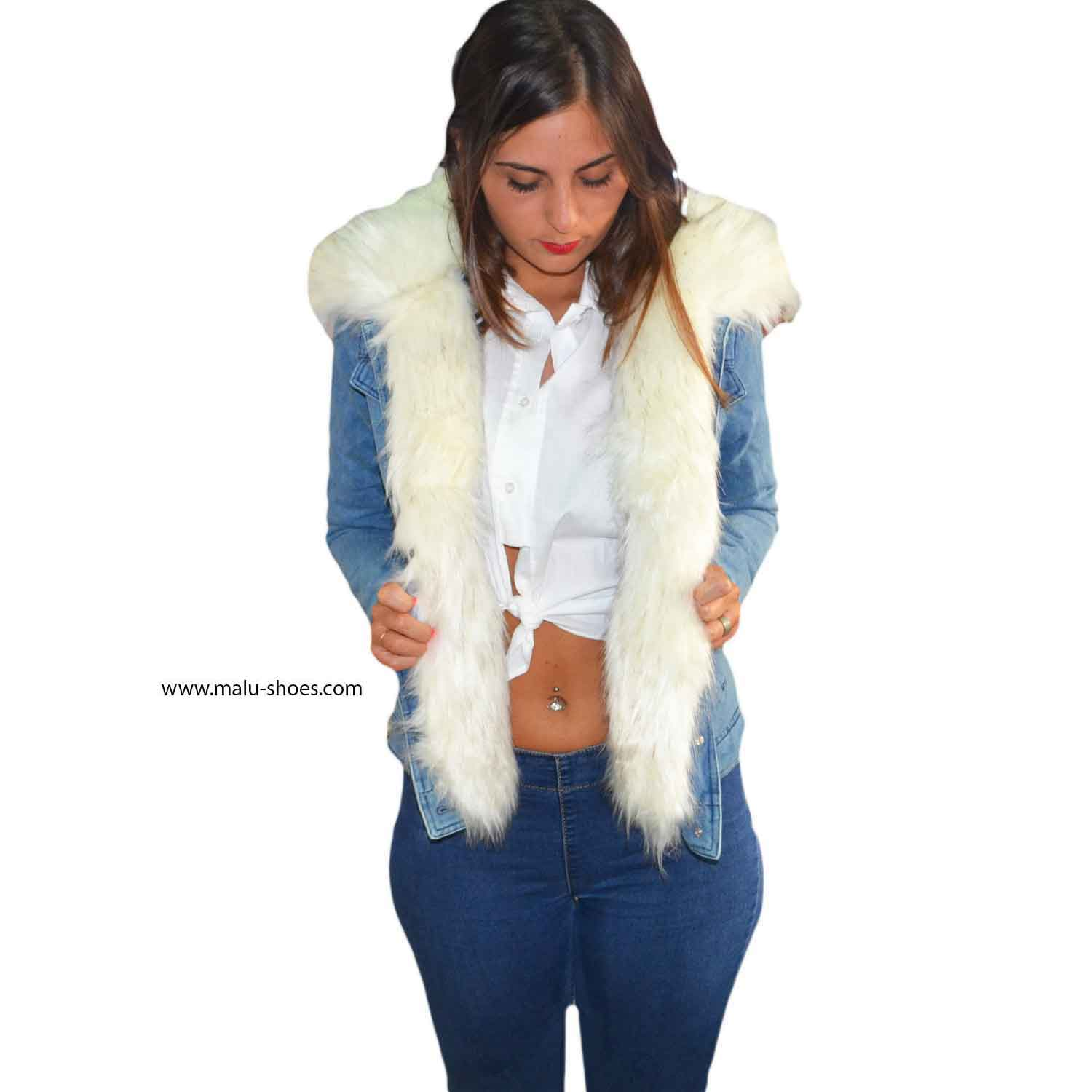 finest selection 0534d 804a4 New Parka Jeans con pelliccia colorata Bianco voluminosa glamour donna  parka k-zell | MaluShoes