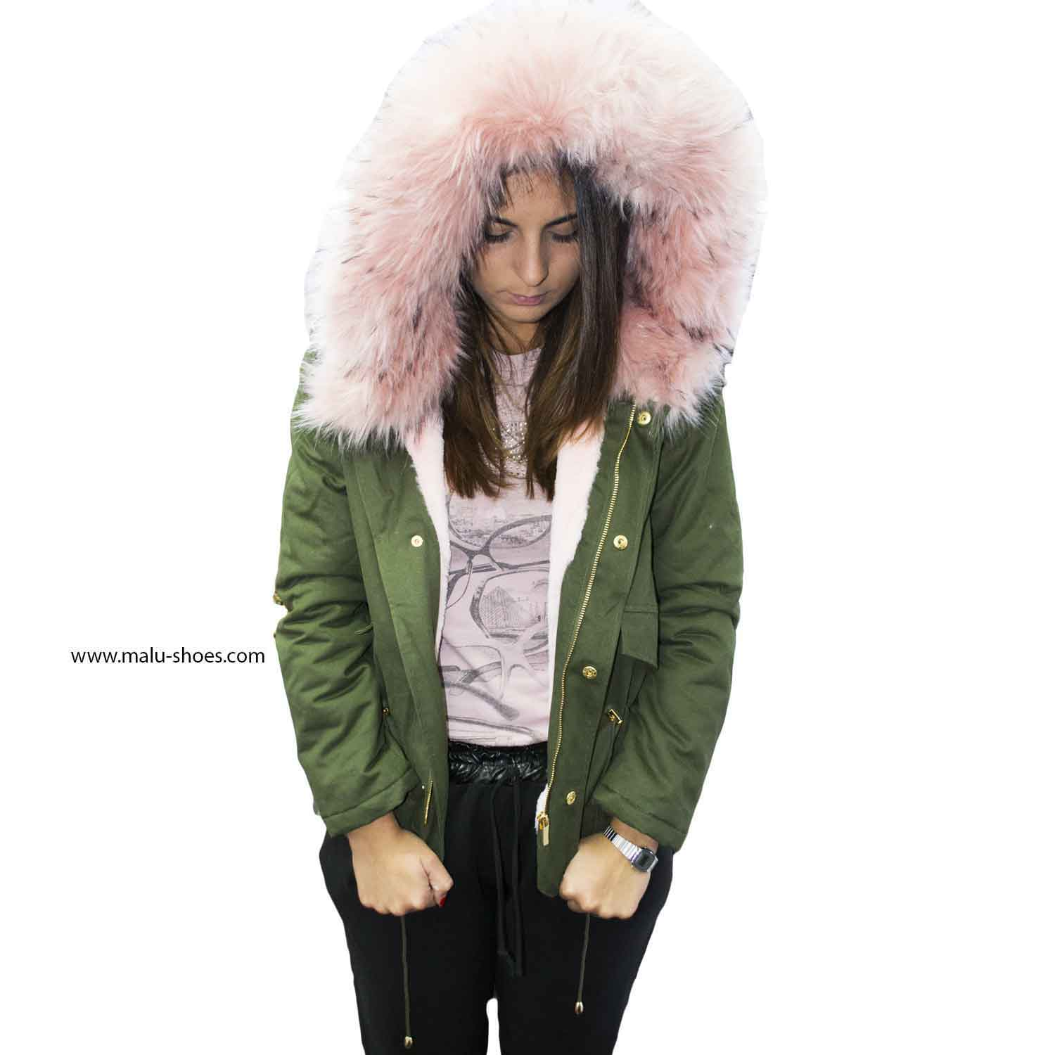 best website 10293 93979 New parka corto verde rosa con pelliccia colorata voluminosa glamour donna  parka k-zell | MaluShoes