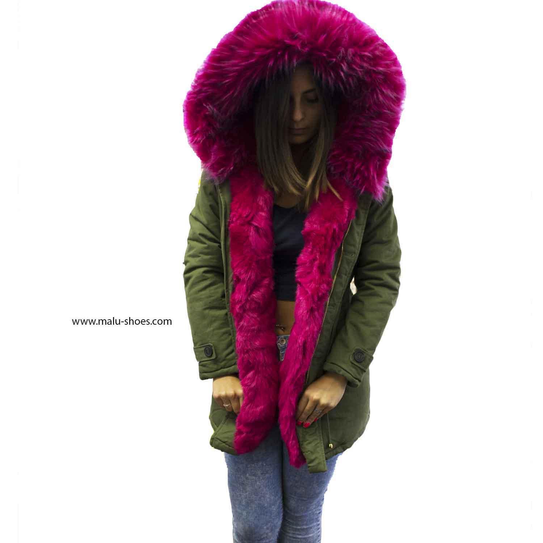 engranaje Tutor disfraz  New Parka con pelliccia colorata verde fucsia voluminosa glamour donna parka  k-zell | MaluShoes