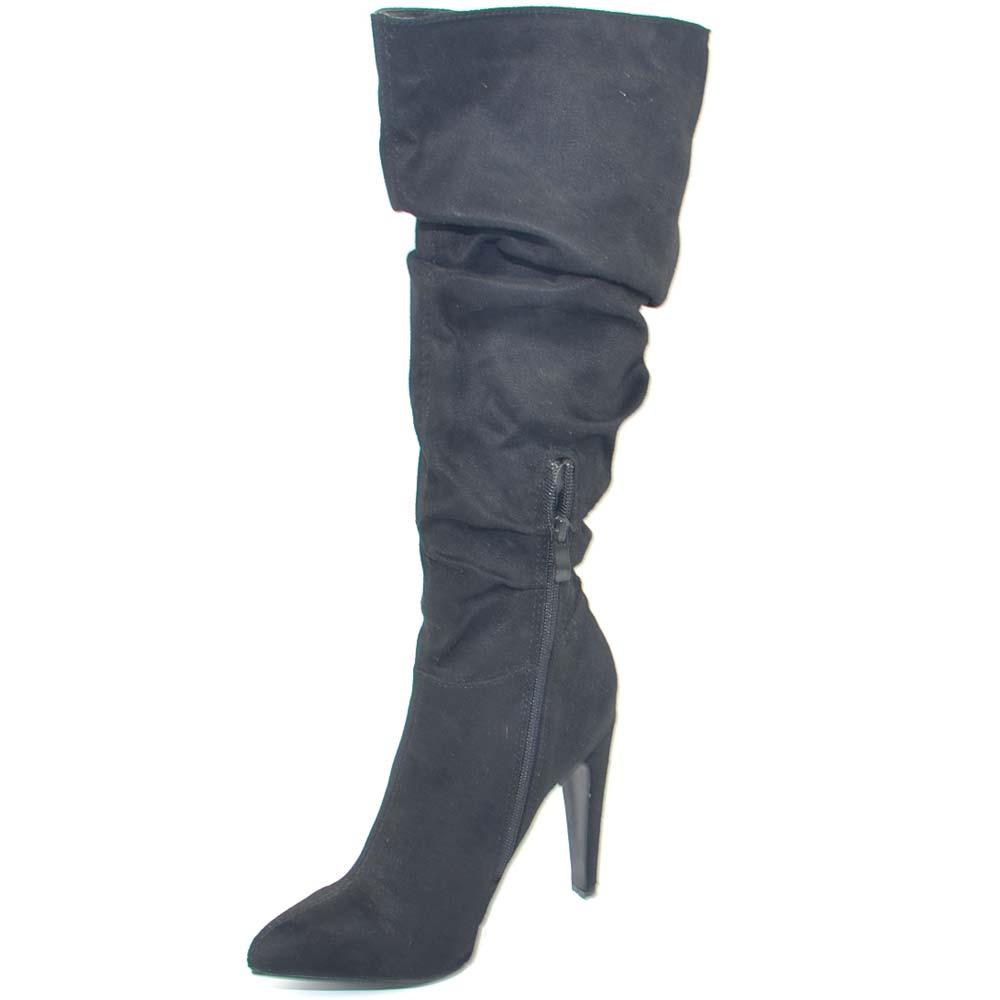 Stivali donna camperos nero con rouches a punta tacco a ...