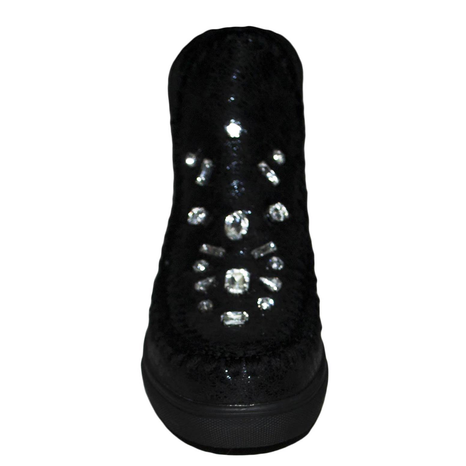 Stivali imbottiti donna nera in camoscio con strass fondo