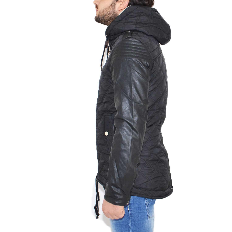 b53057aa97 Parka uomo nero trapuntato manica in pelle slim fit cappuccio imbottito  trend fashion moda uomo uomo parka Acy | MaluShoes