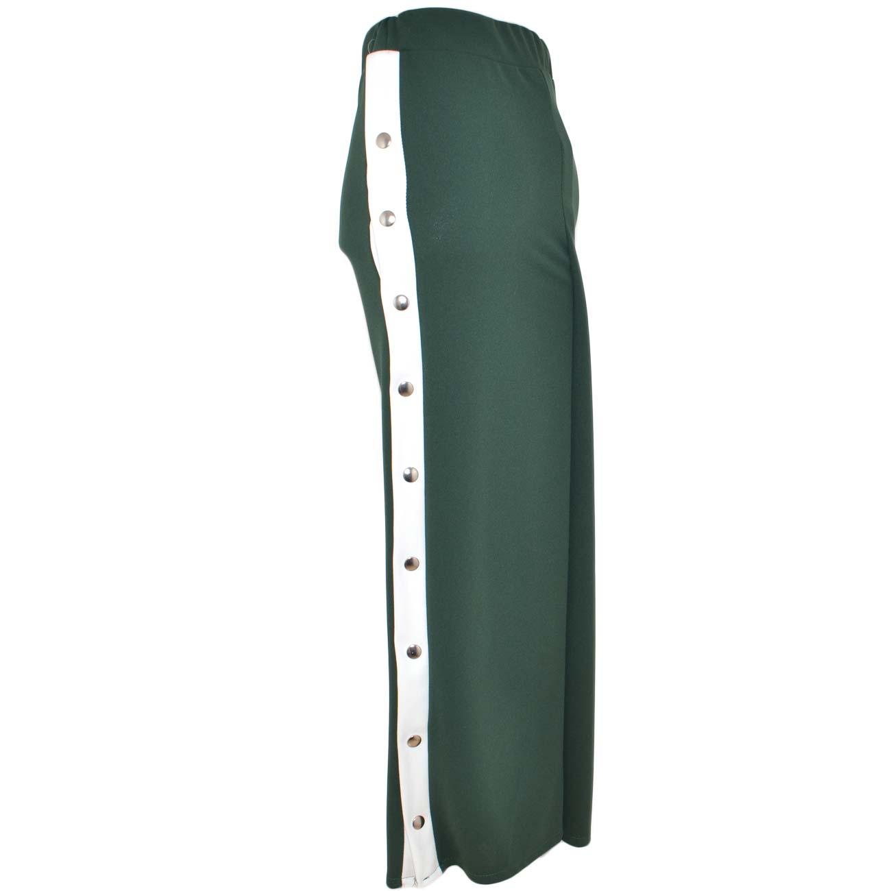 6ec2e8973fe9 Pantaloni donna verde a palazzo con bottoni laterali oro spacco su ...