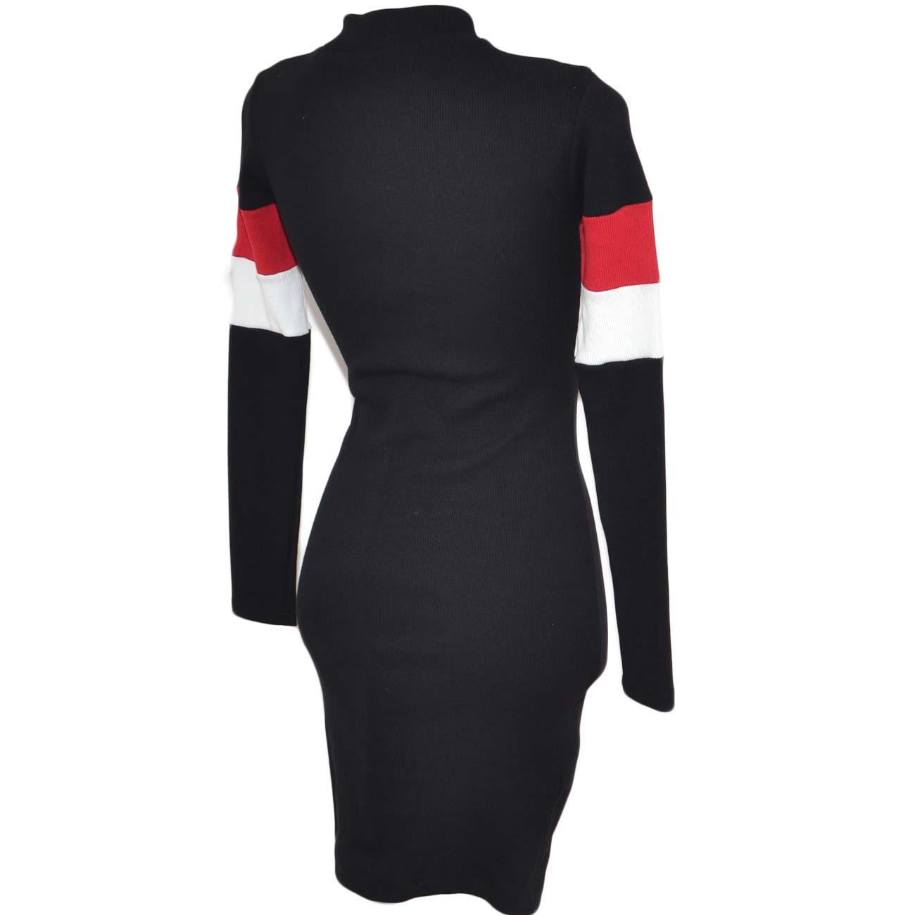 ac03731f0eda Vestito nero midi da donna tubolare in elastene a coste collo alto maniche  lunghe strisce bicolore. Passa il mouse sopra per eseguire zoom