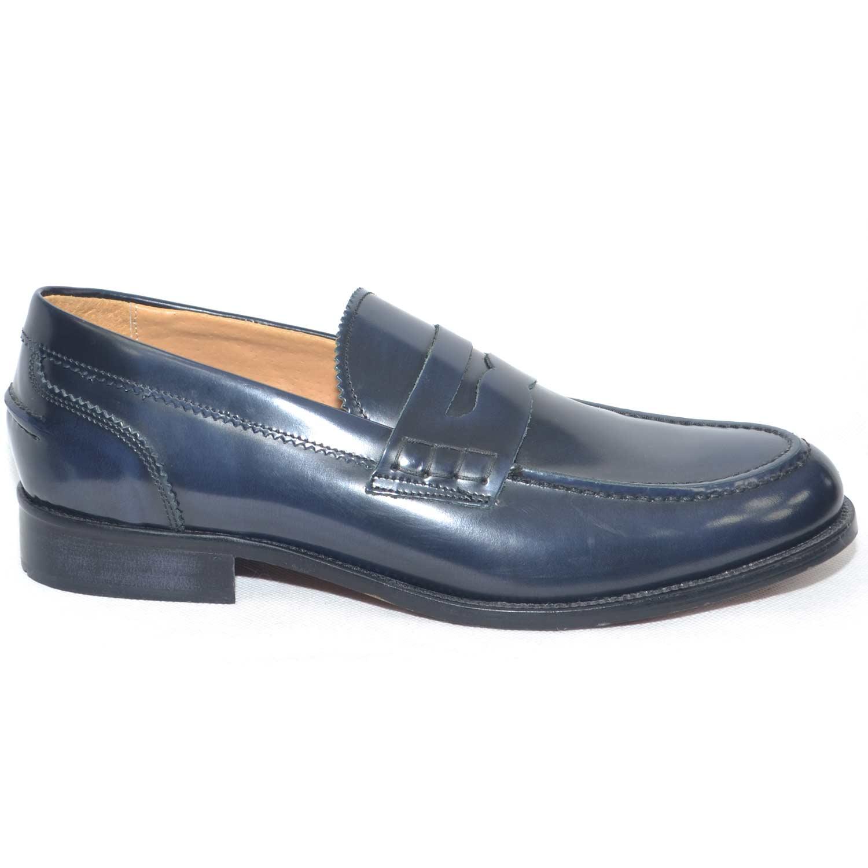 Dettagli su Scarpe uomo mocassino classico blu abrasivato fondo cuoio antiscivolo made in it