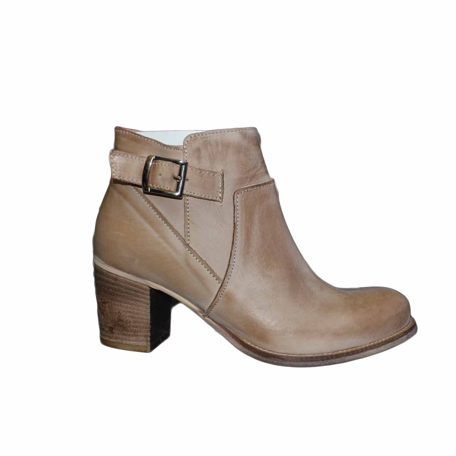 scarpe donna tronchetto made in italy con fibbia e zip latareale vera pelle genuine leather tacco 70 comfort.