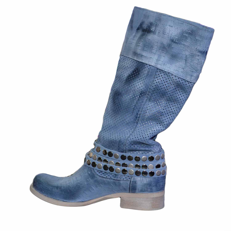 nuovi arrivi f6451 58856 Scarpe donna stivali alti blu vera pelle made in italy fondo comodo forato  con cinturini e accessori donna stivali made in italy | MaluShoes
