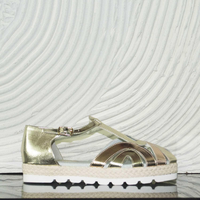 Scarpe donna basse cinturino fondo comfort oro laminato champagne donna sandali bassi ragnetto Malu Shoes | MaluShoes