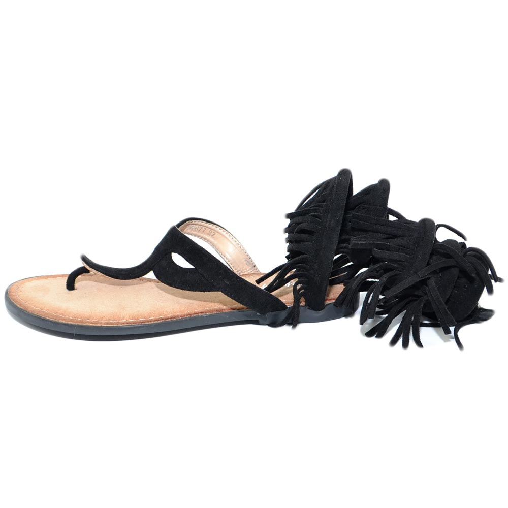 Sandalo basso donna nero estivo alla schiava con pon pon