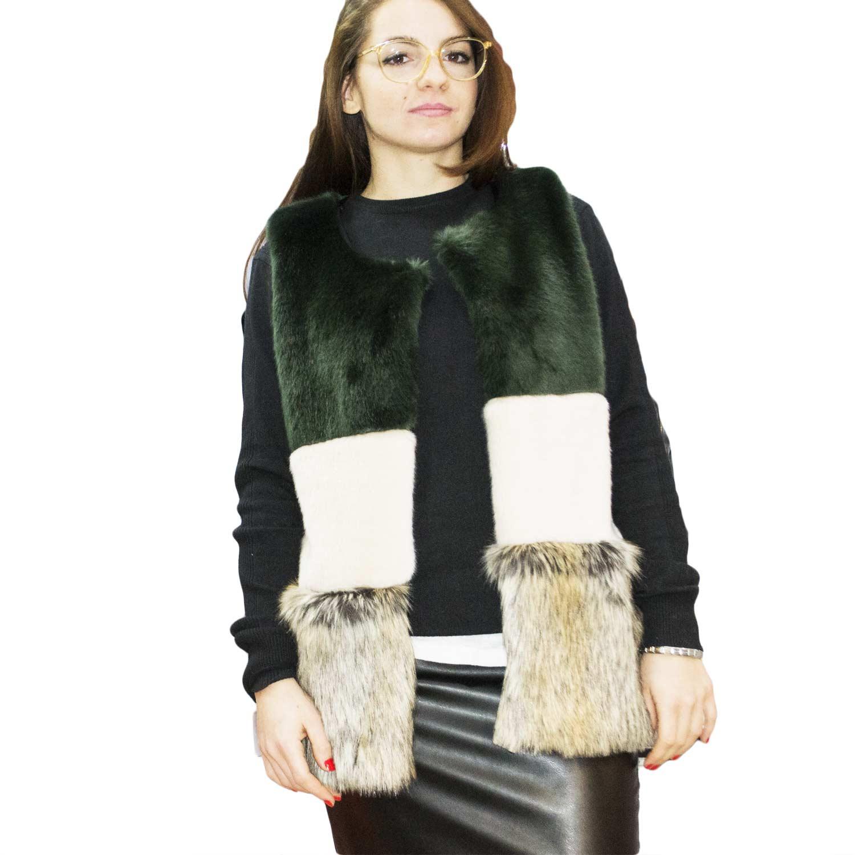 buy online f2b3b 8b6cc New pelliccia ecologica smanicata a pelo lungo morbidissimo multicolor  verde cipria nero donna pelliccia Osley | MaluShoes